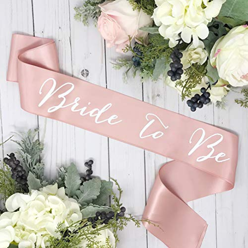 Bachelorette Sash - Rose Gold Satin - White