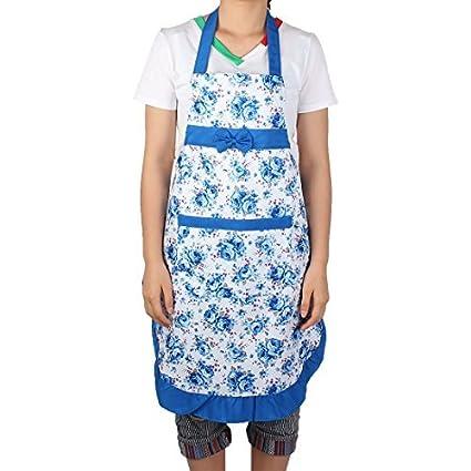 Amazon.com: EDealMax Fleur Imprimé Maison Restaurant Cuisine Bow Cuisine  Tablier Bavoir Robe De Poche Bleu Blanc: Kitchen U0026 Dining