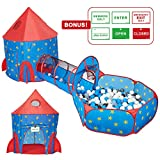 HAN-MM 3pc Rocket Ship Astronaut Kids Play Tent, Tunnel & Ball Pit Basketball Hoop Toys with Bonus Message Signs For Indoor Outdoor Camping Children Activity Center