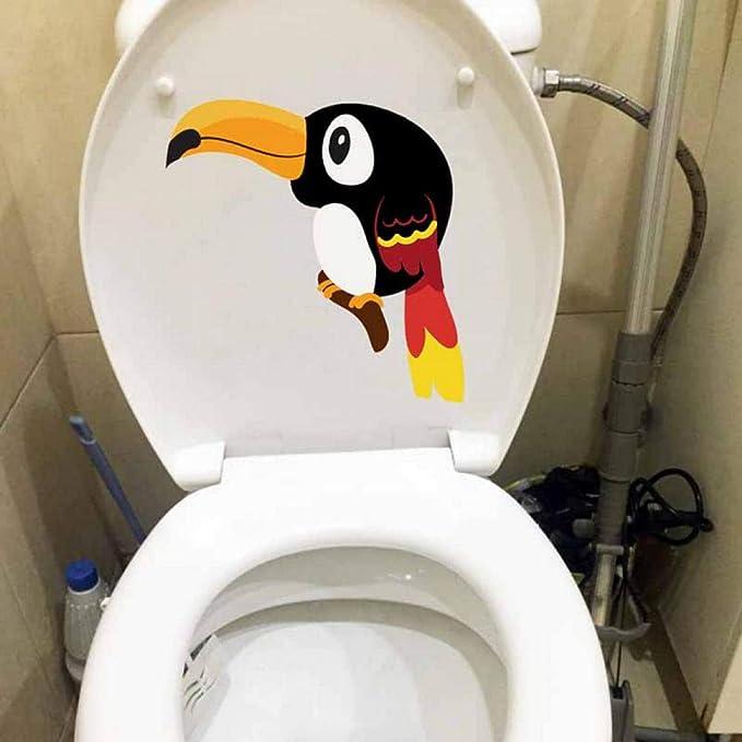 JIWAWAR 23x20.1 CM Tucán Mural Creativa Etiqueta de La Pared de Dibujos Animados de Aves de Inodoro asiento de la Sala de estar Decoración Del Hogar: Amazon.es: Bricolaje y herramientas