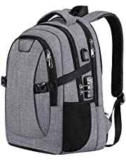 Holife Laptop Backpack, Anti-Theft Business Travel Computer Backpack with USB Charging Port, for 15.6 Inch Notebook Water Resistant Lightweight School Backpack with Rain Cover for Men and Women - Grey