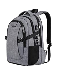 PICTEK Laptop Backpack, Business Travel Anti Theft Laptop Bag with USB Charging Port and Lock for Women/Men, 30L Waterproof College School Computer Bag with Rain Cover fits 14-15.6 Inch Laptops
