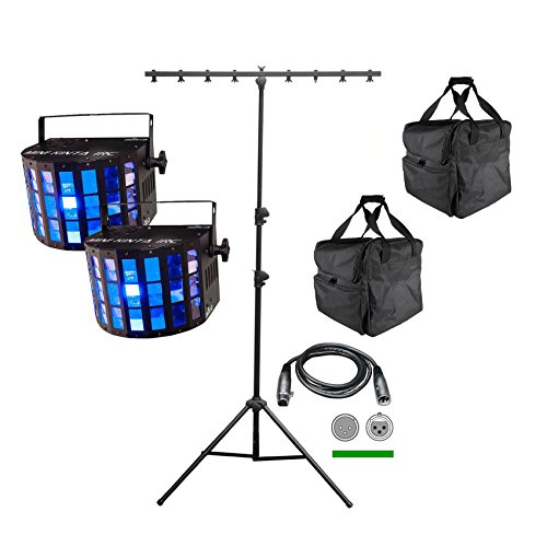 2 Chauvet DJ Mini Kinta IRC LED Lights + CH-06 T-Bar Stand + CHS-40 Travel Bags by CHAUVET DJ