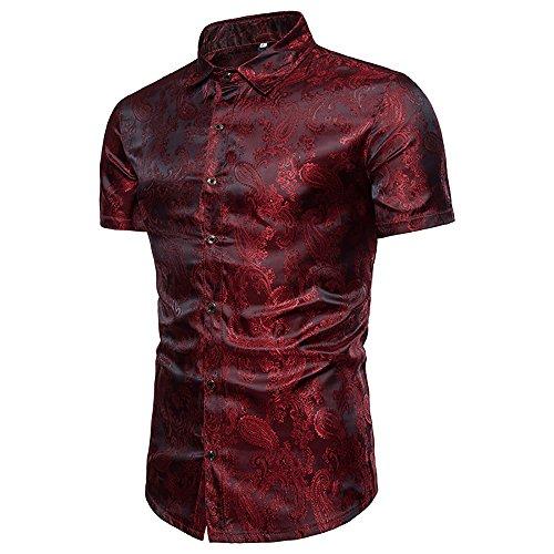 WULFUL Men's Stylish Slim fit Short Sleeve Shirts Shiny Satin Silk Dance Prom Party Dress ()