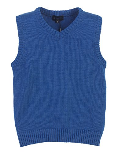 Gioberti Boy's V-Neck Knitted Pullover Sweater Vest, Royal Blue, Size 7