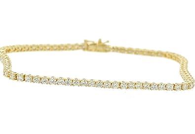 e08110cb0822d Amazon.com: Midwest Jewellery 10K Gold Diamond Tennis Bracelet Mens ...
