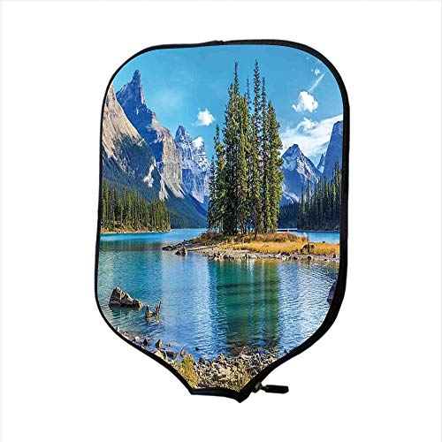 Neoprene Pickleball Paddle Racket Cover Case,Lakehouse Decor,Scenery of Spirit Island in Maligne Lake Canada in a Summer Time Covered with High Mountains,Fit for Most Rackets - Protect Your Paddle for $<!--$9.99-->