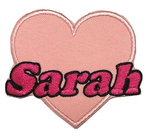 Sarah Love Heart-Shape Embroidered Embroidery Needlework Sewing Iron on Patch Patchwork Patches Letter Applique Sewing Embroidery for Clothing Dress Garment