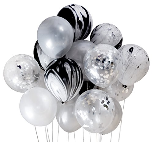 Silver and Black Foil Party Decoration Marble Confetti Balloon (Thickened 12