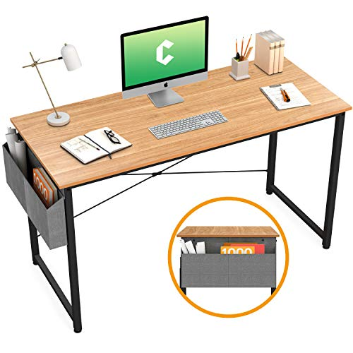 """Cubiker Computer Desk 47"""" Home Office Writing Study Desk, Modern Simple Style Laptop Table with Storage Bag, Natural"""