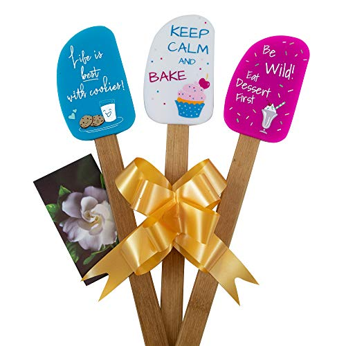 3 Piece Fun Silicone Spatula Gift Set with lovely bow and photo gift card. Easy clean, durable, high temperature and stain resistant. Bamboo handles. Great for gifts, baking, cooking, sauteing.