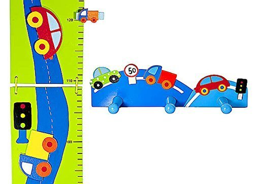 Boys Car Themed Growth Height Chart and Coat Wall Hooks for Nursery or Bedroom Home Decor Set