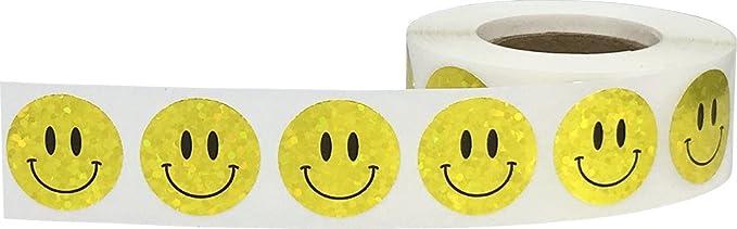 Amarillas Pegatinas Brillantes de Cara Feliz, 19 mm 3/4 Pulgadas Etiquetas de Círculos Holográficos Brillantes 500 Paquete