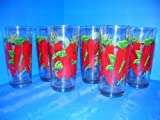 "CHILI PEPPER 16oz. Tumblers glass Set of 6 ""NEW"""