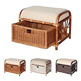Product review for Krit Handmade Rattan Wicker Ottoman Footstool Pouf Stool w/Basket w/Cushion color Colonial (Light Brown)