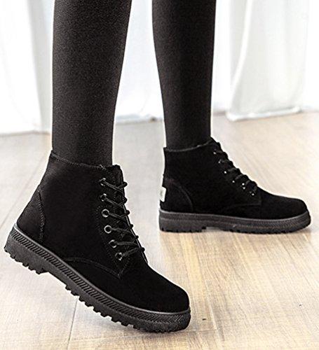 Baymate Retro Botas de Nieve Mujer Otoño Invierno Calentar Botines Planos Anti-deslizante Zapatos Boots de Trabajo Black