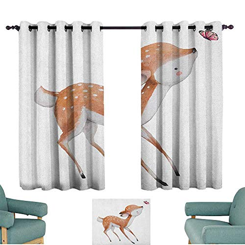 (alisoso Kids,Nursery/Baby Care Curtains Young Deer with Pink Butterfly Lovely Forest Life Theme in Watercolors 100