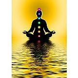Pitaara Box Meditation With Chakras Unframed Canvas Painting 36 x 51inch