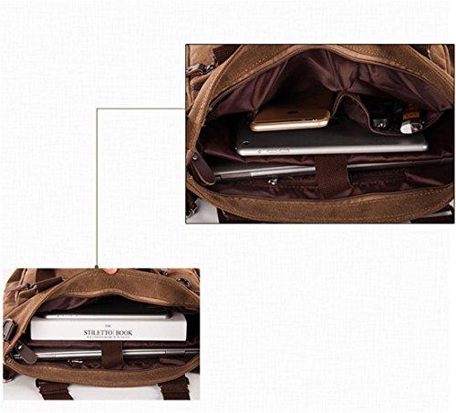 MongShop Herren Umhängetasche Vintage Sack Canvas Umhängetasche aus Leder Military Schulter Laptoptaschen Bookbag Working Bag für Männer und Frauen-Schwarz jgCLI68u1T