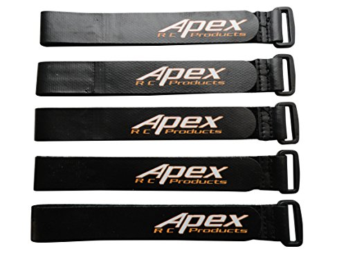 5 PACK 20mm x 300mm HD Non-Slip Battery Straps - Apex RC Products #3031A (Velcro Strap Battery)
