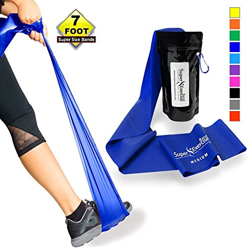 SUPER EXERCISE BAND Medium BLUE Resistance Band. Your Home Gym Fitness Equipment Kit for Strength Training, Physical Therapy, Yoga, Pilates, Chair Workout | LATEX FREE For ALLERGIC SAFETY | 7 ft