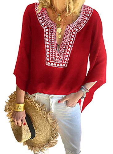 (Asvivid Womens Boho Blouses Mexican Embroidered Notch V Neck 3 4 Bell Short Sleeve Tops Summer Loose T-Shirt Tunic Blouses S Red)