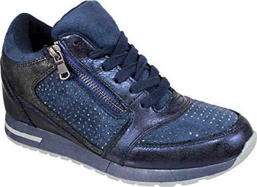 De Wupas Mujer Azul Zapatillas Cuña 17592 Para q0ZUHS