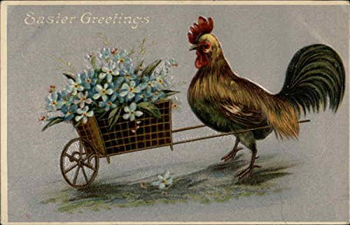 Rooster with basket of flowers With Other Animals Original Vintage Postcard from CardCow Vintage Postcards