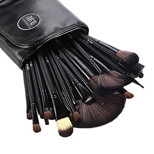 DRQ Professional Makeup Brush Set| Pro Cosmetic-32pc Studio Pro Makeup Make Up Cosmetic Brush Set Kit w/ Leather Case - For Eye Shadow, Blush, Concealer, Etc. (Black Pro Studio)