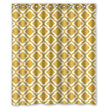 "Eco-friendly Mustard Yellow Quatrefoil Pattern Shower Curtain(Rideau de douche)Waterproof Bathroom Curtain Liner with Hook 60"" x 72"""