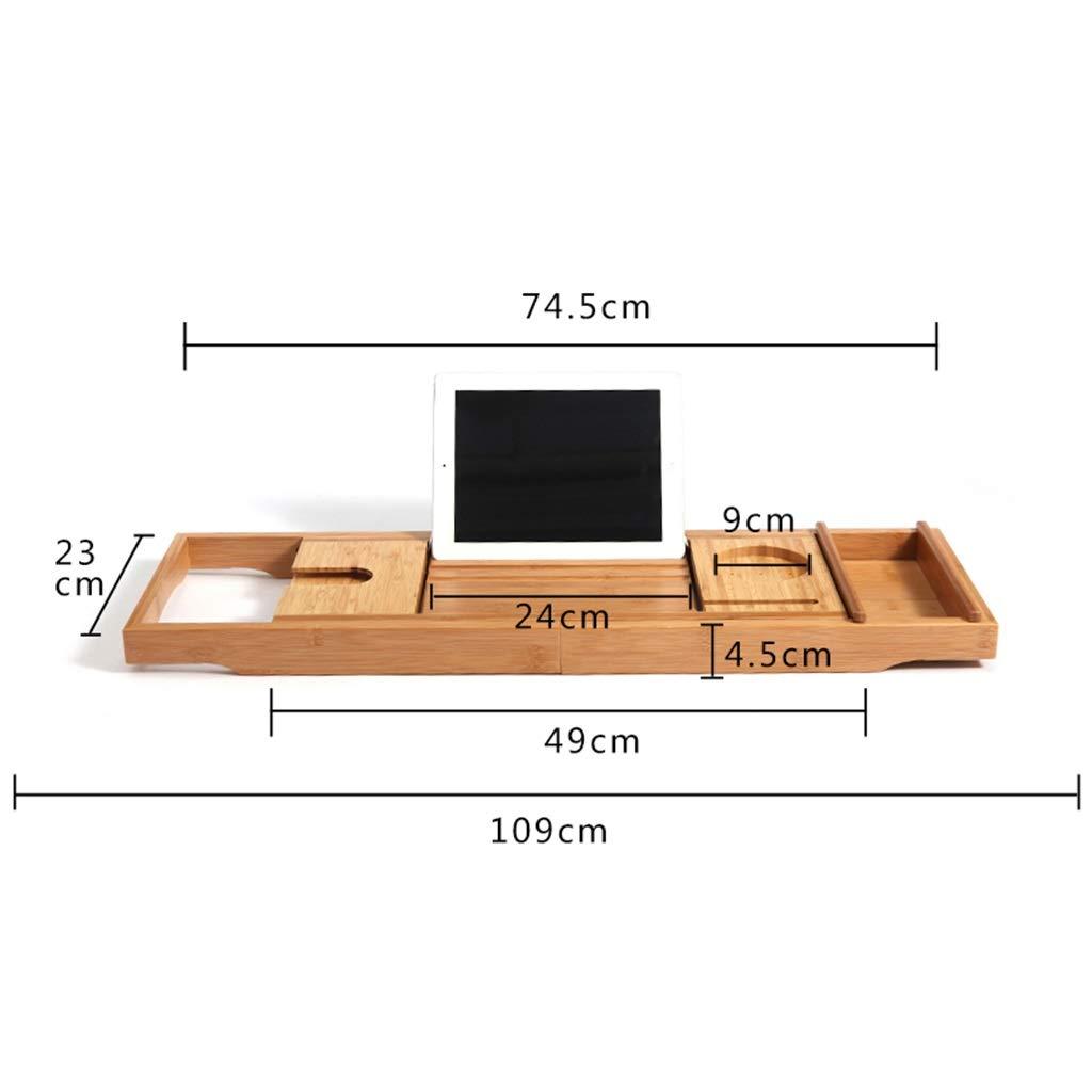 Bathtub Trays bath caddy bath tray bath board Bamboo bathtub frame bathroom bath telescopic long bathroom multi-function rack(bathtub pillow) ( Color : Natural+White , Size : 74.523+3223cm ) by ZhaoLiRuShop (Image #7)