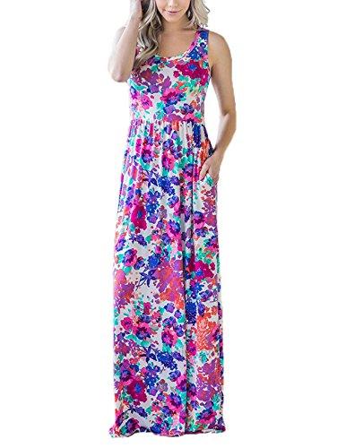 SWQZVT Women's Summer Bohemian Floral Dresses Sleeveless Pockets Racerback Scoop Neck Casual Long Maxi Tank Dress Purple L