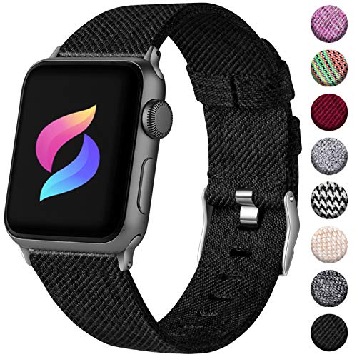 Haveda Bands Compatible with Apple Watch Band 38mm 40mm, Woven Fabric Canvas Wrist Band for Women Men with iWatch Series 4 Series 3/2/1,Black