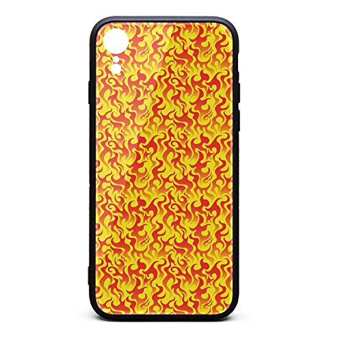 (Flame Fire Seamless Vector Red Yellow Pattern I-Phone Xr Case Protective Shell Anti-Finger Fashion for I-Phone)