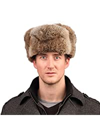 URSFUR Men's Rabbit Full Fur Russian Ushanka Trooper Hats Multicolor (Brown)