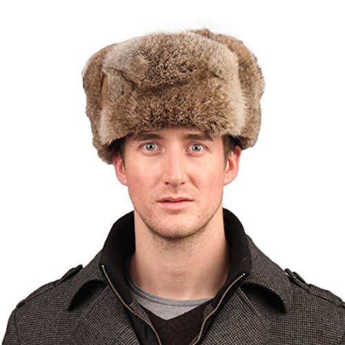 Rabbit Fur Trooper Hat - Men's Rabbit Full Fur Russian Ushanka Trooper Hats Multicolor (Brown)