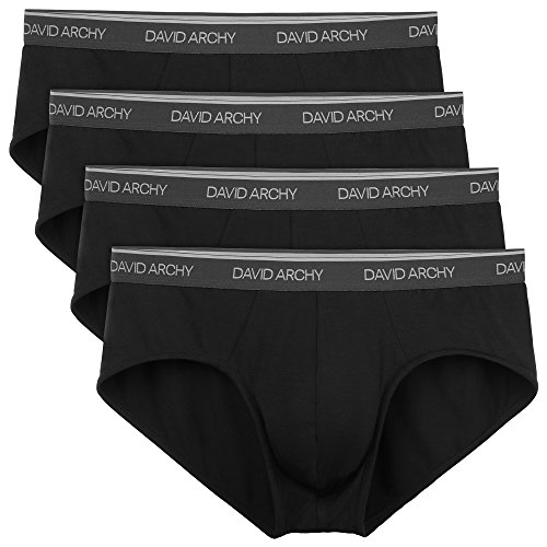 Boxer Bamboo Briefs (David Archy Men's 4 Pack Bamboo Rayon Soft Lightweight Pouch Briefs No Fly(Black,M))