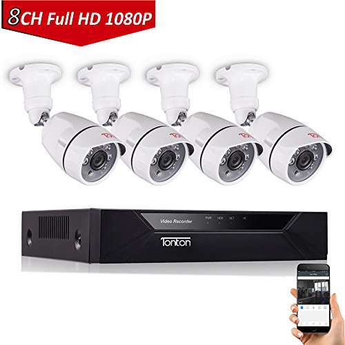 Tonton 8CH Full HD 1080P Security Camera System, Surveillance Video Recorder and (4) 2.0MP 1920TVL Waterproof Outdoor Indoor CCTV Bullet Camera with Face Detection and Perimeter Protection(NO HDD)