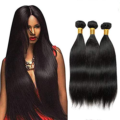 Bex Straight Hair Bundles 16 18 20 inch Total 3 Bundles - 100% Unprocessed Brazilian Human Hair Weave Soft 10A Grade Straight Bundles with Closure-Natural Black Color (ST 16 18 20)
