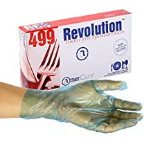 AmerCare Revolution Blue Poly Case Glove, Textured and Powder Free, Extra Large, Case of 1000