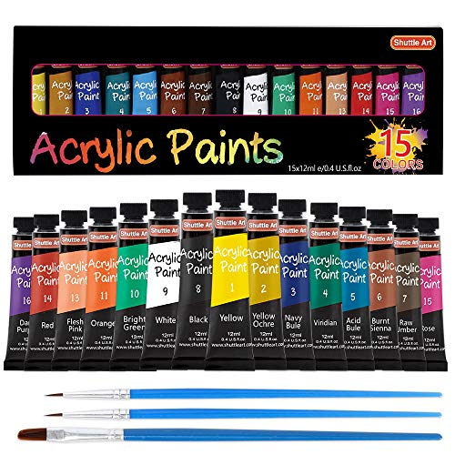 Acrylic Paint Set, Shuttle Art 15 x 12ml Tubes Artist Quality Non Toxic Rich Pigments Colors Perfect for Kids Adults…