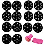HHE Nail Art Template 1 Set(10Pcs) Stainless Steel Image Plates and Stamper Scraper Set Nail Polish Stamp Manicure Nail Tools