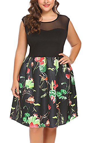 Involand Women Plus Size A-Line Sleeveless Printed Cocktail Party Lace (80 Fancy Dress Plus Size)