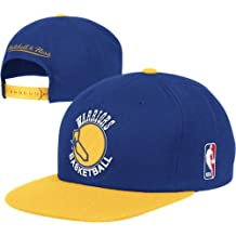 Golden State Warriors Blue/Gold Vintage Mitchell & Ness XL Logo Snapback Hat / Cap