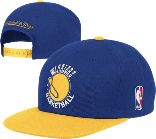 Golden State Warriors Blue Gold Vintage Mitchell   Ness XL Logo Snapback Hat    Cap f5e67fa811ad