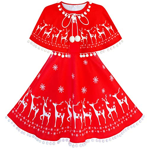Girls Dress Reindeer Red Cape Cloak Christmas New