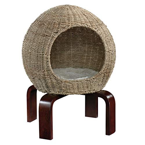 Sauder 421100 Cat Nap Pod, Wicker Sphere