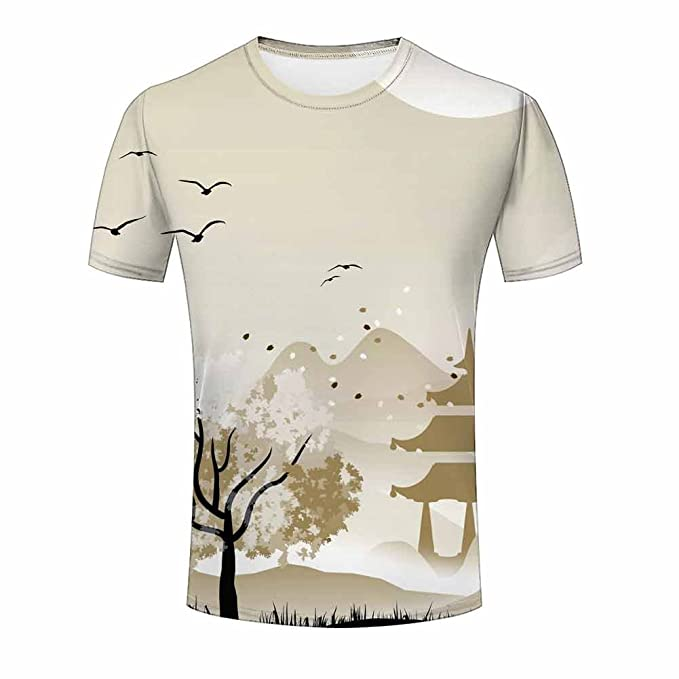 3bb9ad648e6 ZeShan Men Summer T-Shirts Nature Landscape 3d Front Back Polyester Tops  Print 3XL
