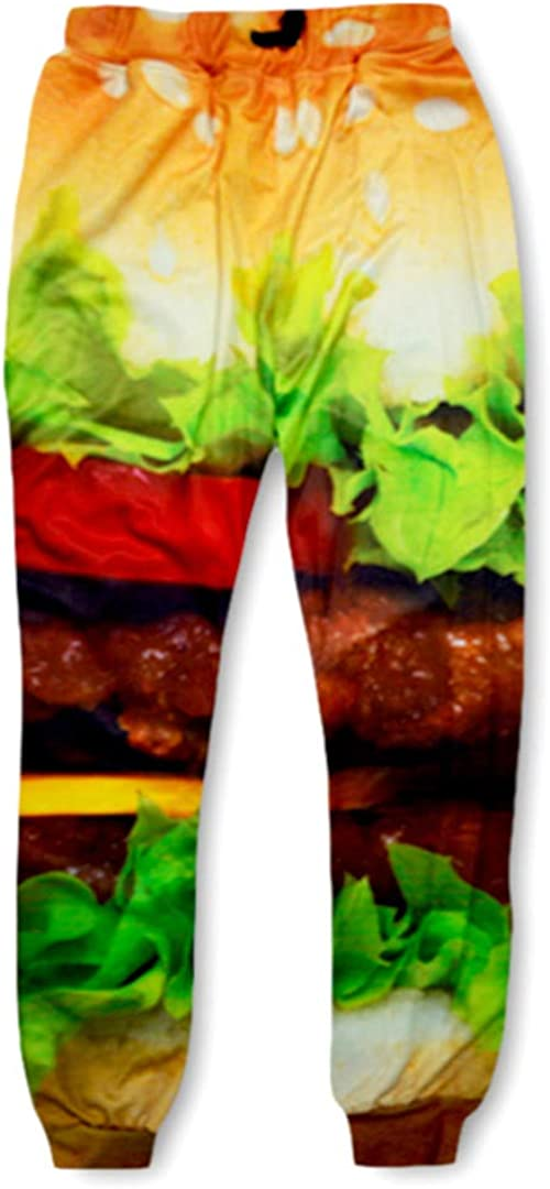 HappenYost Skinny Fitness Harajuku Burger Food 3D Print Sweat Hip Hop Joggers Trousers