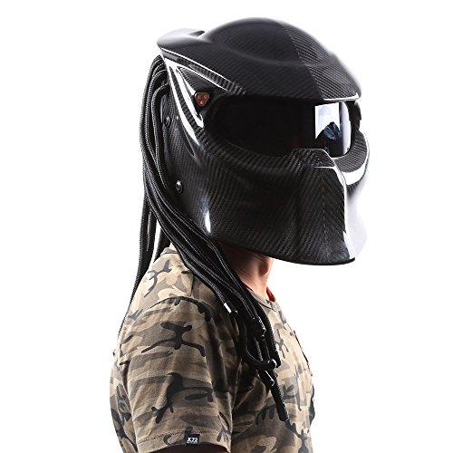 JPFCAK Fresco Láser Dentado Depredador Locomotora Carreras Fibra De Carbono Motocicleta Casco De Seguridad Masculino Casco De Cara Completa,Black: ...